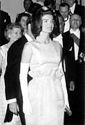 Long Gloves Framed Prints - Jacqueline Kennedy At A Dinner To Honor Framed Print by Everett