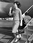 Long Gloves Posters - Jacqueline Kennedy Deplanes In New York Poster by Everett