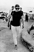 White Slacks Framed Prints - Jacqueline Kennedy Onassis On Vacation Framed Print by Everett