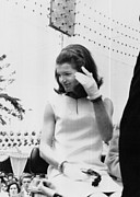 Jacqueline Kennedy, Riding In An Open Print by Everett