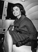 Leather Gloves Prints - Jacqueline Kennedy, Visiting New York Print by Everett