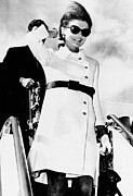 Above The Knee Framed Prints - Jacqueline Kennedy, Wearing A White Framed Print by Everett