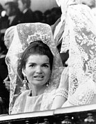 First Lady And President Prints - Jacqueline Kennedy Wears A Traditional Print by Everett