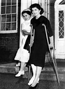 Crutches Posters - Jacqueline Kennedy, Wife Of Senator Poster by Everett