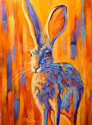 Hare Framed Prints - Jacquelyn Framed Print by Theresa Paden