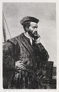 Jacques Framed Prints - Jacques Cartier, French Explorer Framed Print by Middle Temple Library