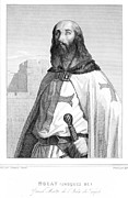 Templar Knight Framed Prints - JACQUES DE MOLAY (1243-1314). French knight. Steel engraving, 19th century Framed Print by Granger