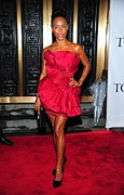 Red Dress Posters - Jada Pinkett-smith Wearing A Marchesa Poster by Everett