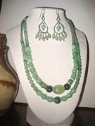Green Jewelry Metal Prints - Jade and Silver Necklace Metal Print by Christina A Pacillo
