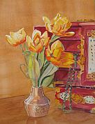 Armitage Paintings - Jade and Tulips by Jenny Armitage