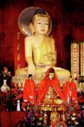 Sitting Posters - Jade Buddha Jingan Temple Shanghai Poster by Christine Till - CT-Graphics