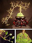 Sal Villano Art - Jade Cascade  No.1 - Bonsai Wire Tree Sculpture  by Sal Villano