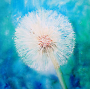 Dandelion Paintings - Jade Dandelion by Ruth Harris