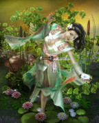 Lilly Pond Digital Art - Jade by Karen Koski