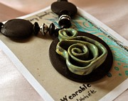 Whimsical Art Ceramics - Jade Pottery Swirl Necklace by Amanda  Sanford