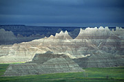 South Dakota Photos - Jagged Badlands Formations, Spotlit On A Gloomy Day by Altrendo Nature
