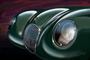 David Kyte Prints - Jaguar C Type Print by David Kyte