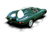 David Kyte Prints - Jaguar D Type Print by David Kyte
