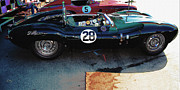 Indy Car Prints - Jaguar D-Type Pit Scene 2 Print by Curt Johnson