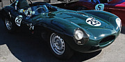 Indy Car Prints - Jaguar D-Type Pit Scene Print by Curt Johnson