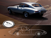 Jaguar E Type Classic Car Posters - Jaguar E-Type Layout Poster by Curt Johnson