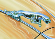 Sportscar Prints - Jaguar Hood Cat Print by David Kyte