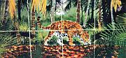 Cats Ceramics Metal Prints - Jaguar on the Hunt Metal Print by Dy Witt
