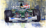 Racing Painting Framed Prints - Jaguar R3 Cosworth F1 2002 Eddie Irvine Framed Print by Yuriy  Shevchuk