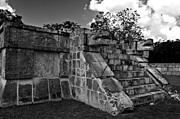 Mayan Jaguar Prints - Jaguar Stairs Black and White Print by Ken Frischkorn