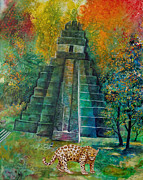 Mayan Painting Framed Prints - Jaguar Temple Framed Print by Shelly Leitheiser