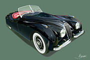 Automotive Illustration Framed Prints - Jaguar XK 120 Framed Print by Alain Jamar
