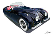 Automotive Illustration Posters - Jaguar XK 120 on white Poster by Alain Jamar