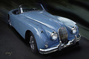 Kirkland Digital Art Posters - Jaguar XK 150 In Blue Poster by Curt Johnson