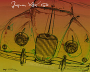 Kirkland Prints - Jaguar XK-150 in Yellow Print by Curt Johnson