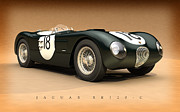 Hill Digital Art Posters - Jaguar XK120-C Poster by Pete Chadwell