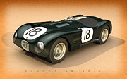 Moss Framed Prints - Jaguar XK120-C Three-Quarters Framed Print by Pete Chadwell