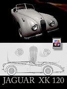 Kirkland Posters - Jaguar XK120 Layout Poster by Curt Johnson
