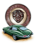 Jaguar Art Posters - Jaguar XKE British Racing Green Poster by David Kyte