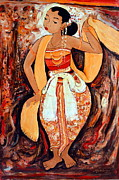 Indonesian Paintings - Jaipong Dancer by Ledek Sukardi