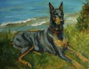 Doberman Paintings - Jake a Doberman Pinscher by Nora Sallows