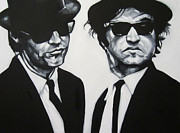 Portrait Drawings - Jake and Elwood by Steve Hunter