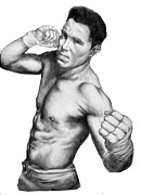 Mixed Martial Arts Drawings - Jake Shields - Strikeforce Champion by Audrey Snead