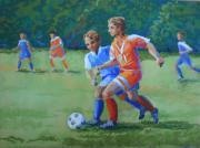 Action Pastels - Jakes Soccer Game by Christy Vitale
