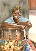 Caribbean Sea Pastels Framed Prints - Jamaican Fruit Seller Framed Print by John Clark