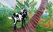 Goat Painting Originals - Jamaican Goat in a Tree by D T LaVercombe
