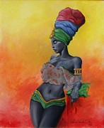 Ebony Paintings - Jamaican Vibe by Lessie Venardo Dixon