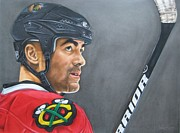 Blackhawks Drawings - Jamal Mayers by Brian Schuster