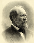 President Of The United States Of America Prints - James A Garfield - President of the United States of America Print by International  Images