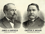 James Garfield Posters - James A Garfield for President and Chester Arthur for Vice President Poster by International  Images