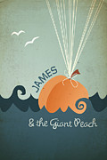 Peach Digital Art Prints - James and the Giant Peach Print by Megan Romo